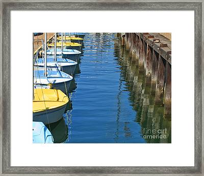 Yellow And Blue Sailboats From The Book My Ocean Framed Print