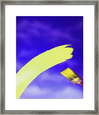 Yellow And Blue Framed Print by Steven Huszar