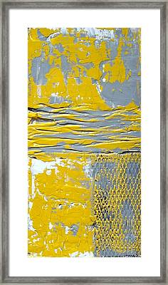 Yellow And Gray Abstract Painting Urban Chic Framed Print
