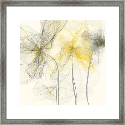 Yellow And Gray Flowers Impressionist Framed Print