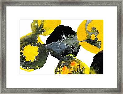 Yellow And Gray Interactions 4 Framed Print by Amy Vangsgard