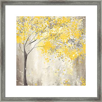 Yellow And Gray Tree Framed Print