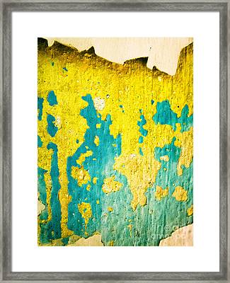 Framed Print featuring the photograph Yellow And Green Abstract Wall by Silvia Ganora