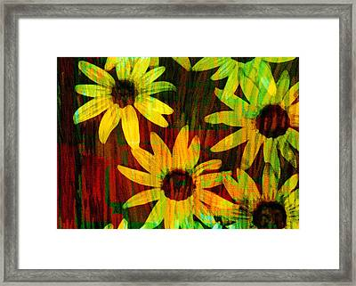 Yellow And Green Daisy Design Framed Print by Ann Powell