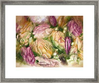 Yellow And Pink Roses Framed Print
