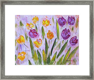 Yellow And Purple Framed Print
