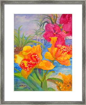 Yellow And Purple Orchids Framed Print by Estela Robles