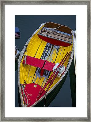 Yellow And Red Boat Framed Print by Garry Gay