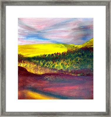 Yellow And Red Landscape Framed Print by Michaela Kraemer