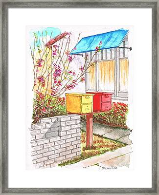 Yellow And Red Mail Boxes In Rangely Ave - West Hollywood - California Framed Print by Carlos G Groppa