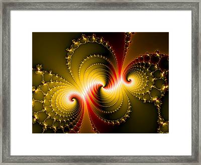 Yellow And Red Metal Fractal Art Framed Print