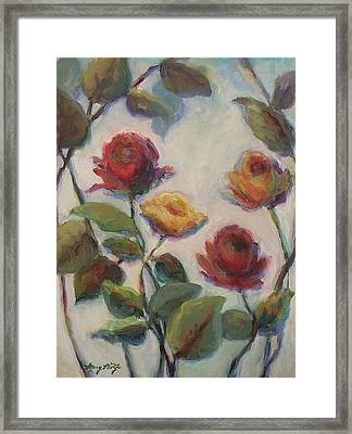 Yellow And Red Roses  Framed Print