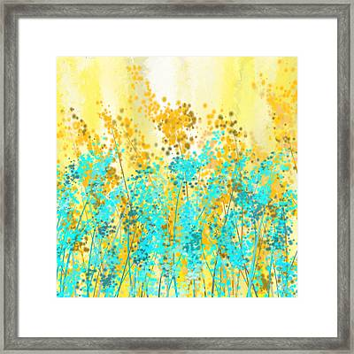 Yellow And Turquoise Garden Framed Print by Lourry Legarde