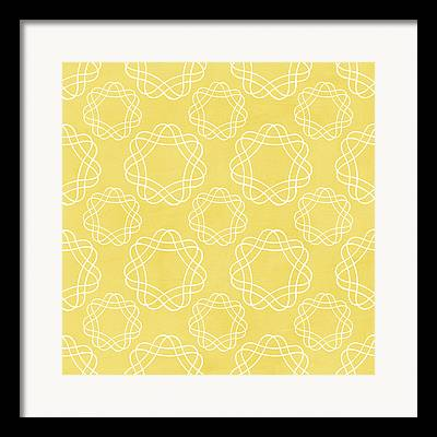 Yellow Line Mixed Media Framed Prints