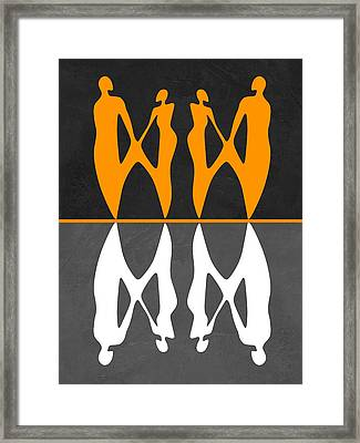 Yellow And White People Framed Print