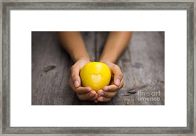 Yellow Apple With Engraved Heart Framed Print