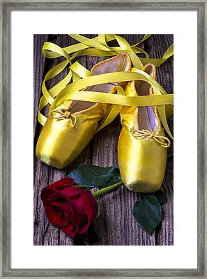 Yellow Ballet Shoes Framed Print by Garry Gay
