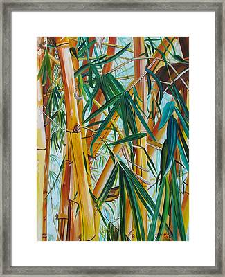 Framed Print featuring the painting Yellow Bamboo by Marionette Taboniar