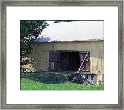Framed Print featuring the photograph Yellow Barn by Gena Weiser