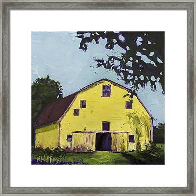 Yellow Barn Framed Print by Kristin Whitney