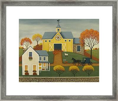 Yellow Barn Framed Print by Mary Charles