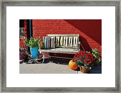 Framed Print featuring the photograph Yellow Bench by Ludwig Keck