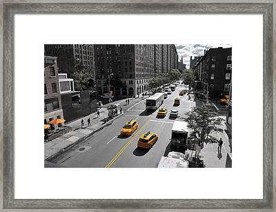 Yellow Big Apple Crossing Framed Print by Paul Van Baardwijk