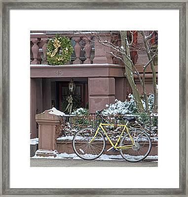 Yellow Bike In Boston Framed Print by Susan OBrien