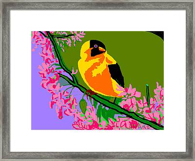 Yellow Bird And Flowerss Framed Print by Anand Swaroop Manchiraju