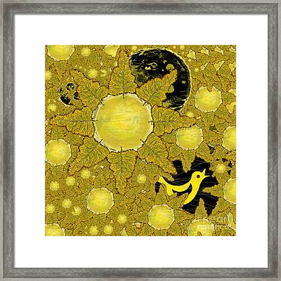 Yellow Bird Sings In The Sunflowers Framed Print