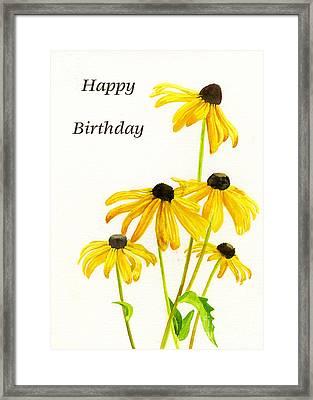 Yellow Black Eyed Susans Birthday Card Framed Print by Sharon Freeman