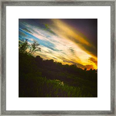 Yellow Blue And Green Framed Print