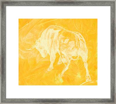 Yellow Bull Negative Framed Print