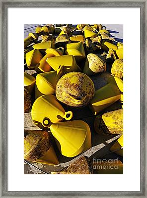Yellow Buoy At Quay Framed Print by Sami Sarkis