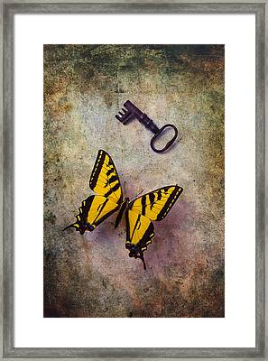 Yellow Butterfly With Key Framed Print by Garry Gay
