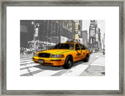 Yellow Cab At The Times Square -comic Framed Print