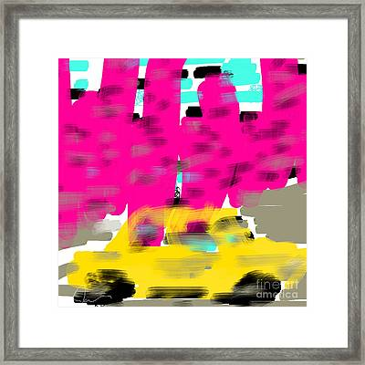 Yellow Cab Big City Framed Print by James Eye
