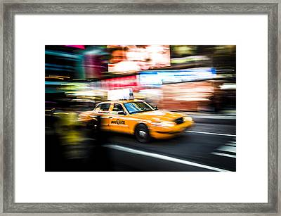 Yellow Cab Framed Print by Chris Halford