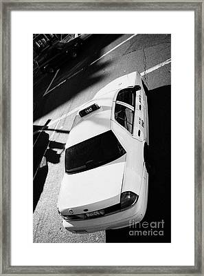 Yellow Cab From Above On Street New York Taxi City Usa Framed Print by Joe Fox
