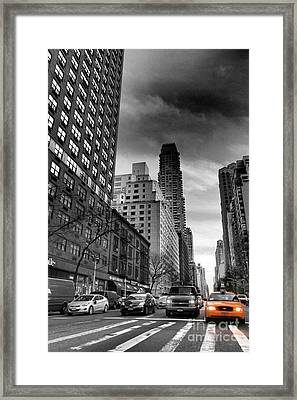 Yellow Cab One - New York City Street Scene Framed Print