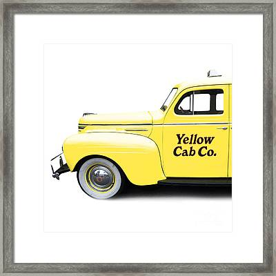 Yellow Cab Square Framed Print by Edward Fielding