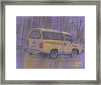 Framed Print featuring the painting Yellow Camper by Donald Maier
