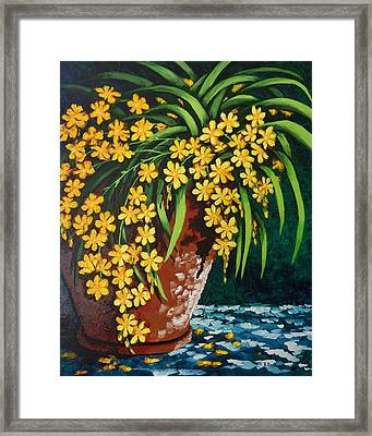 Framed Print featuring the painting Yellow Cascade by Katherine Young-Beck