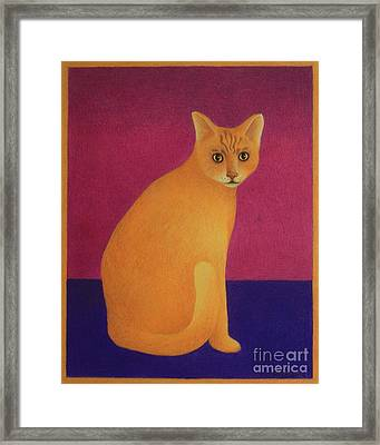 Framed Print featuring the painting Yellow Cat by Pamela Clements
