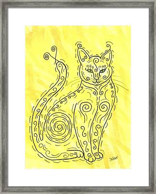 Framed Print featuring the painting Yellow Cat Squiggle by Susie Weber