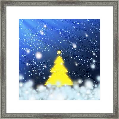 Yellow Christmas Tree Framed Print by Atiketta Sangasaeng