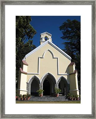 Yellow Church Blue Sky Framed Print by Russell Smidt
