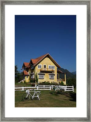 Yellow Classic House On Hill In Thailand  Framed Print