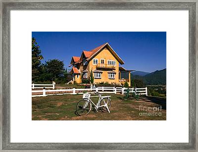 Framed Print featuring the photograph Yellow Classic House On Hill by Tosporn Preede