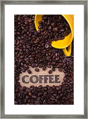 Yellow Coffee Cup With Coffee Beans Framed Print